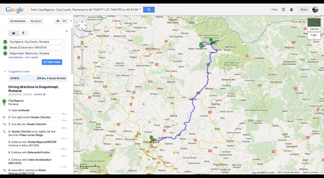 Cluj-Napoca, Romania to Dragomirești, Romania - Google Maps (1)