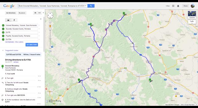 Voronet Monastery to DJ175A - Google Maps