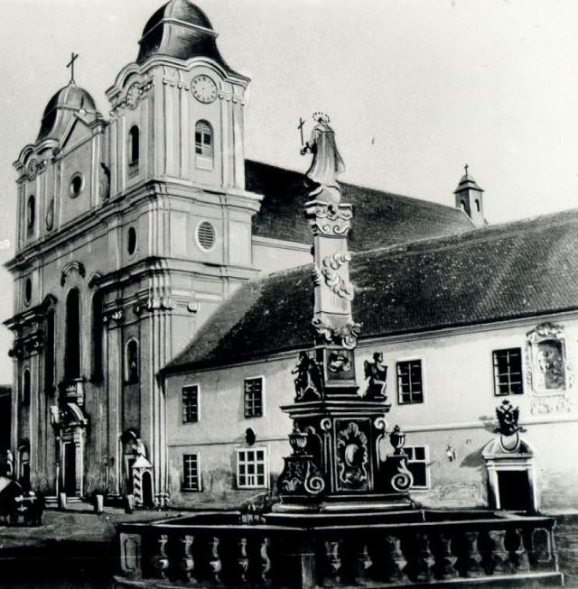 Biserica_Piaristilor_si_Statuia_Fecioarei_Maria_la_1859