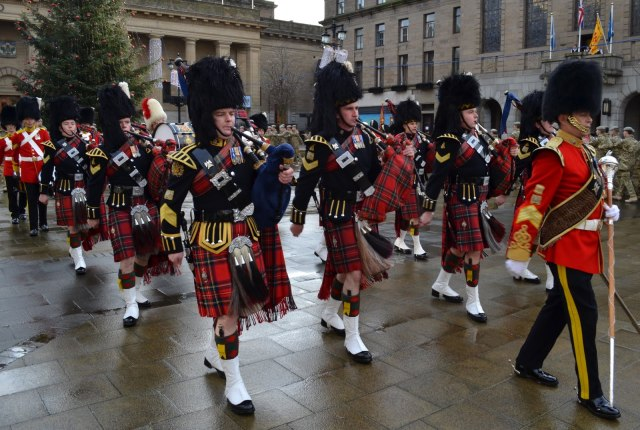 Tour Scotland Photograph Royal Scots Dragoon Guards Pipe Band City Square Dundee Scotland November 29th 03.jpg